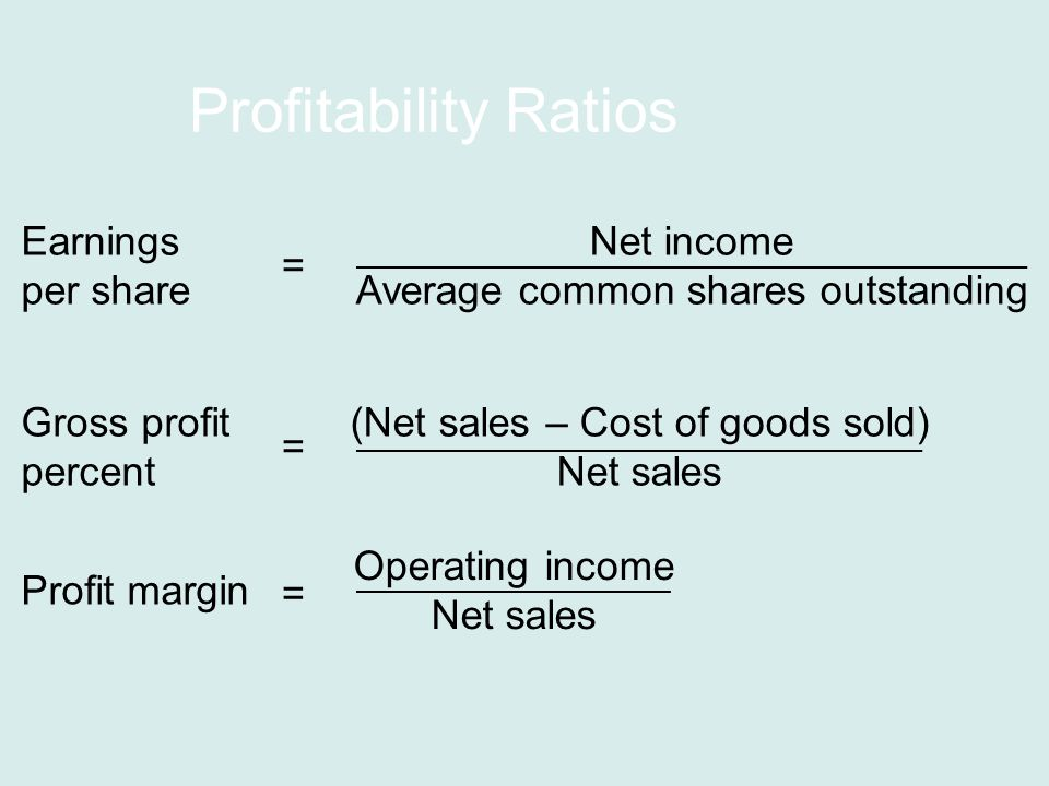 Profitability Ratios Earnings per share Net income Average common shares outstanding = Gross profit percent (Net sales – Cost of goods sold) Net sales = Profit margin Operating income Net sales =