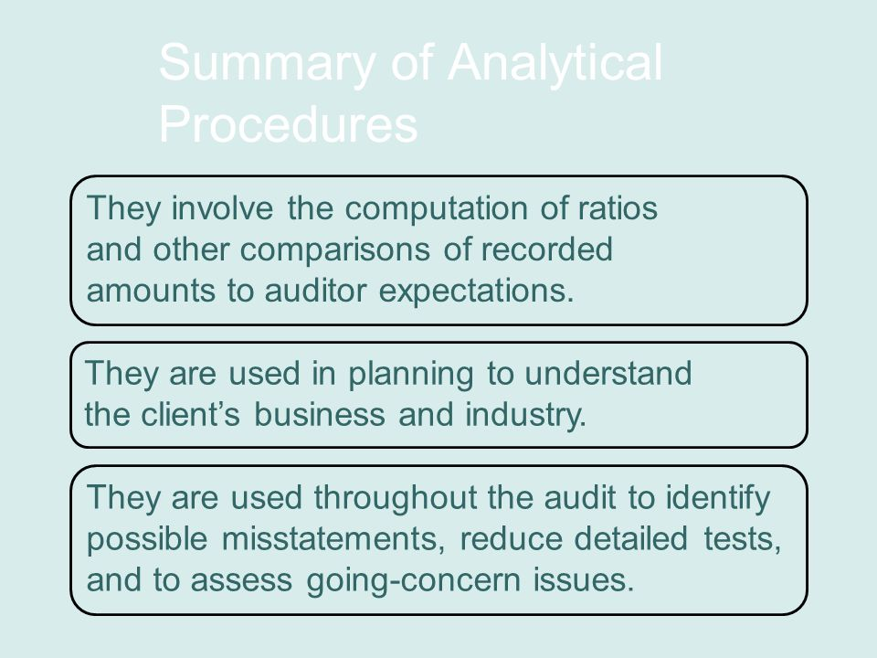 Summary of Analytical Procedures They involve the computation of ratios and other comparisons of recorded amounts to auditor expectations.