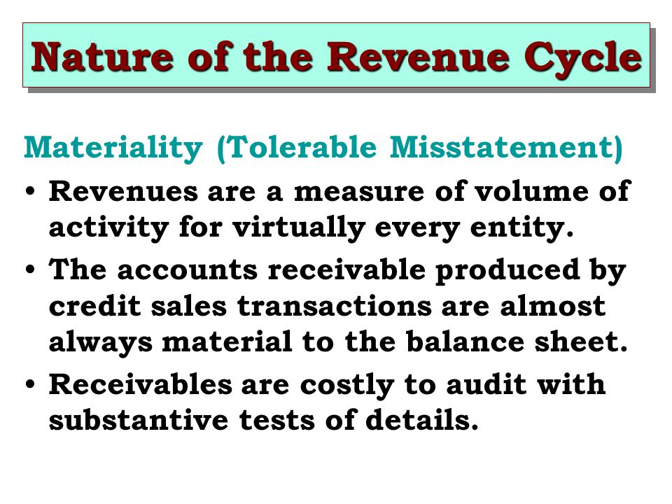 Nature of the Revenue Cycle Materiality (Tolerable Misstatement) Revenues are a measure of volume of activity for virtually every entity.