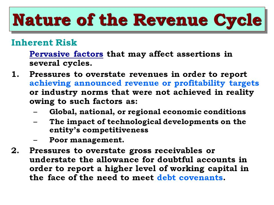 Inherent Risk Pervasive factors that may affect assertions in several cycles.