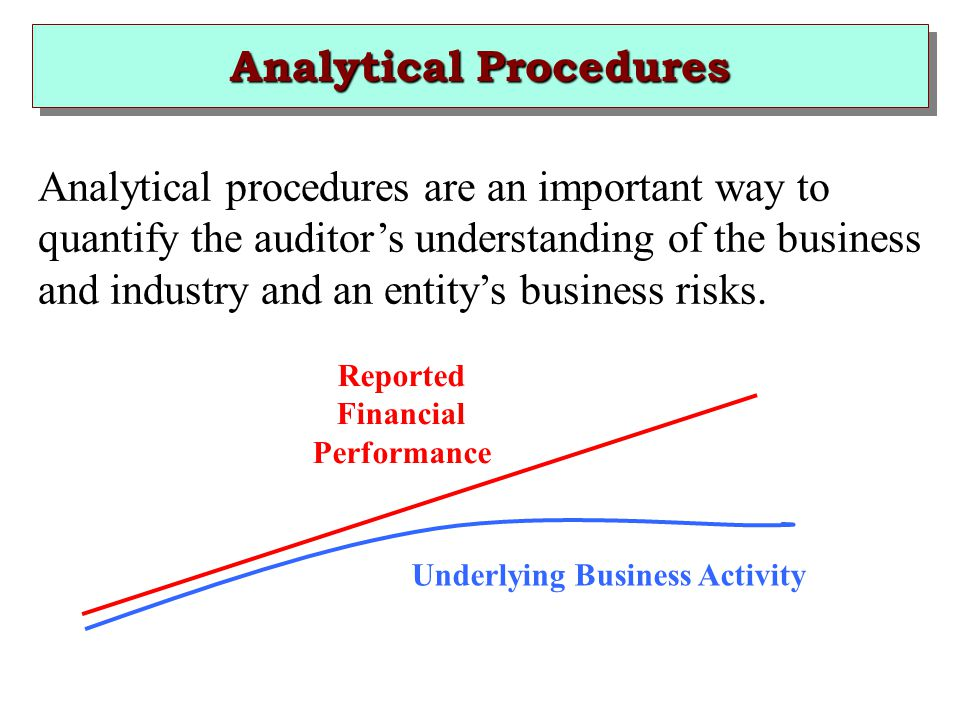 Analytical Procedures Analytical procedures are an important way to quantify the auditor's understanding of the business and industry and an entity's business risks.