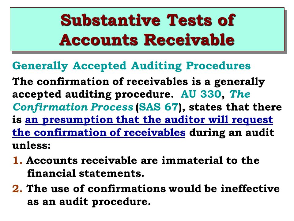Generally Accepted Auditing Procedures The confirmation of receivables is a generally accepted auditing procedure.