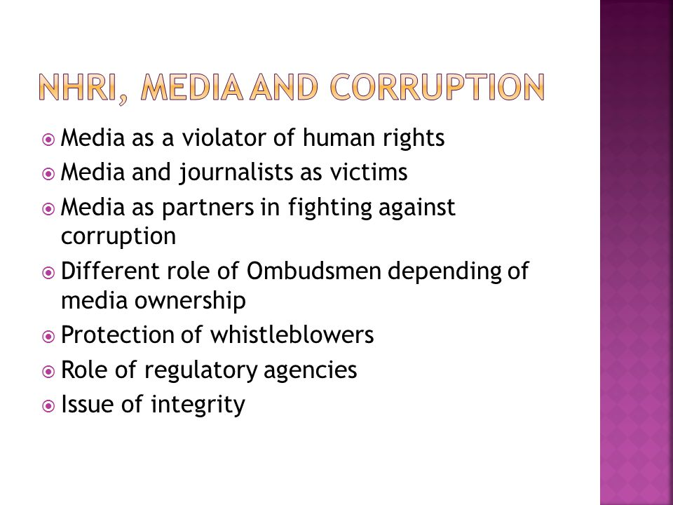  Media as a violator of human rights  Media and journalists as victims  Media as partners in fighting against corruption  Different role of Ombudsmen depending of media ownership  Protection of whistleblowers  Role of regulatory agencies  Issue of integrity