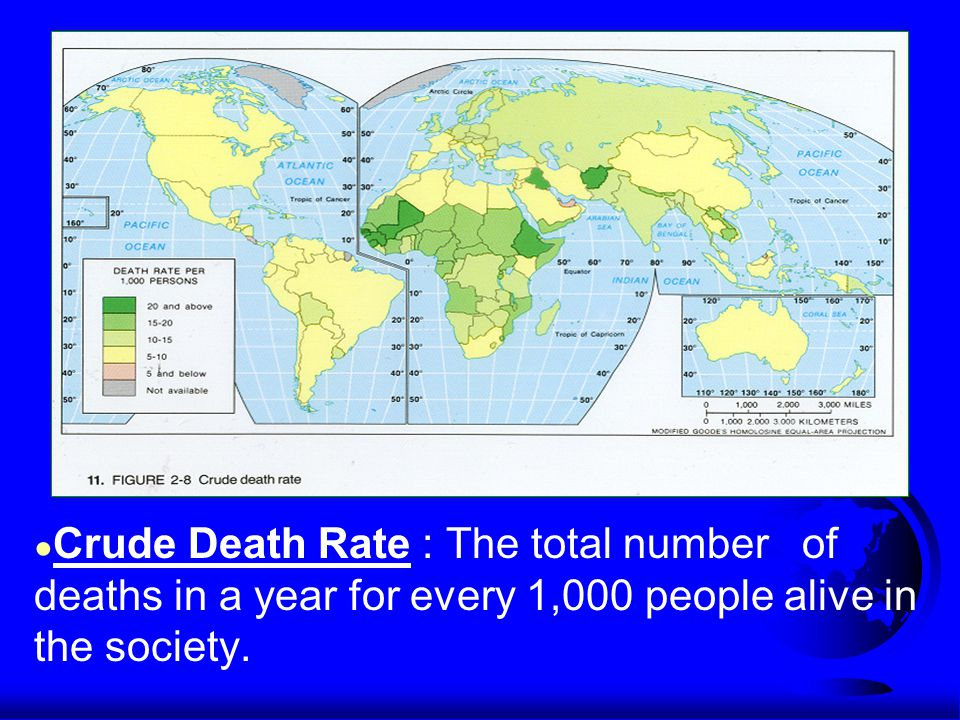 ● Crude Death Rate : The total number of deaths in a year for every 1,000 people alive in the society.