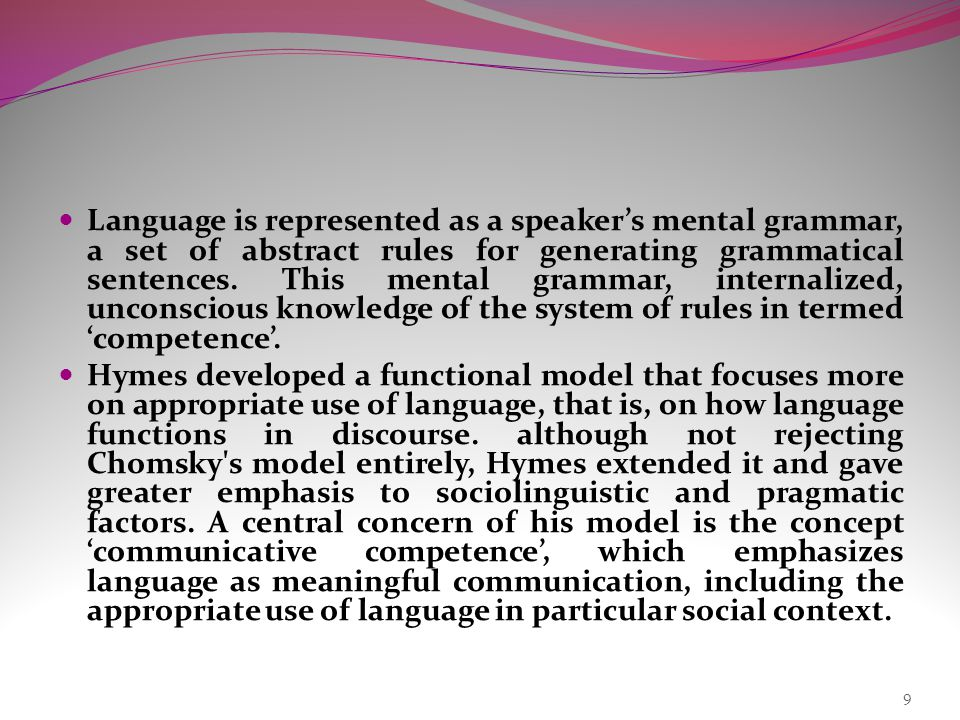 Language is represented as a speaker's mental grammar, a set of abstract rules for generating grammatical sentences.