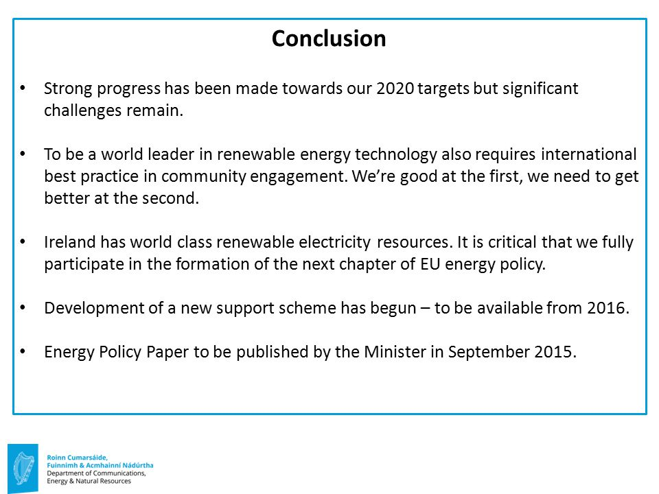 Conclusion Strong progress has been made towards our 2020 targets but significant challenges remain.
