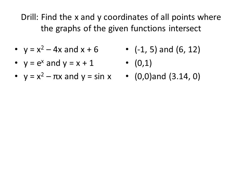 Drill: Find the x and y coordinates of all points where the graphs of the given functions intersect y = x 2 – 4x and x + 6 y = e x and y = x + 1 y = x 2 – πx and y = sin x (-1, 5) and (6, 12) (0,1) (0,0)and (3.14, 0)