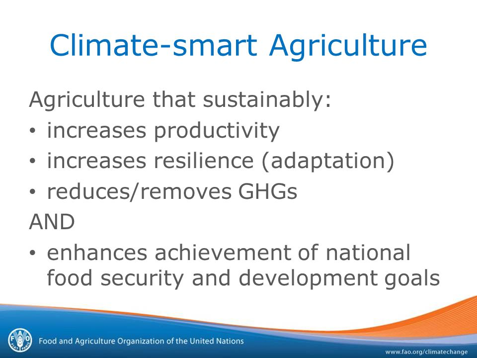 Climate-smart Agriculture Agriculture that sustainably: increases productivity increases resilience (adaptation) reduces/removes GHGs AND enhances achievement of national food security and development goals