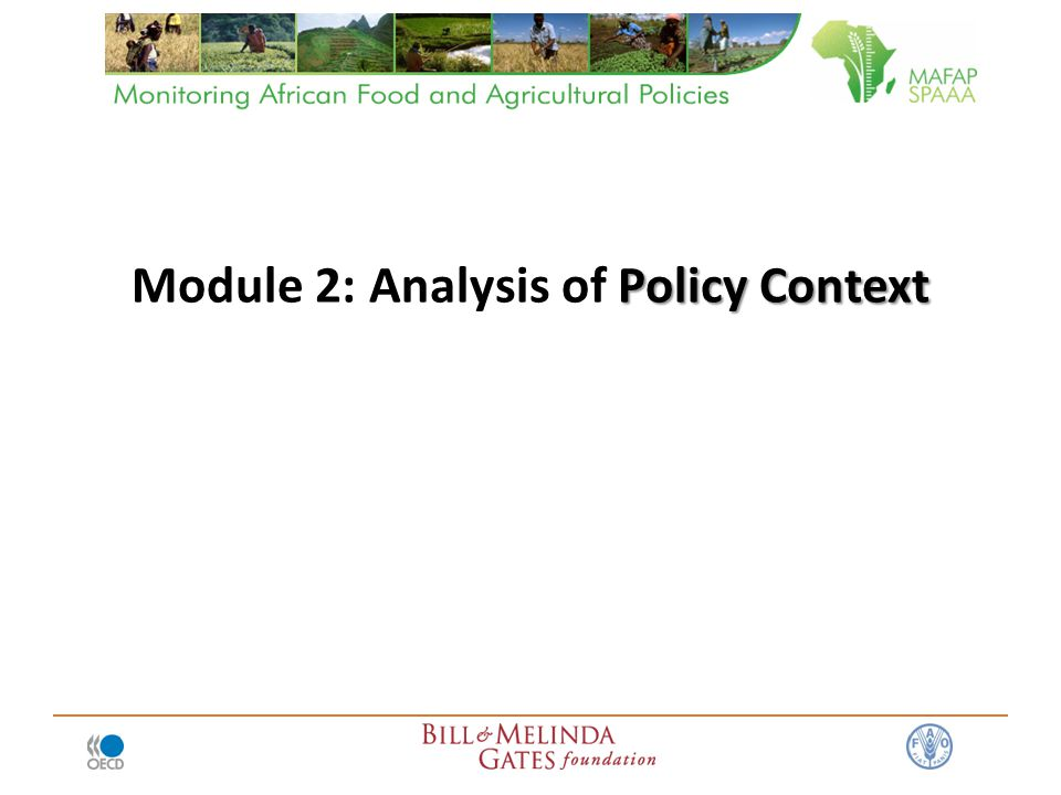 Policy Context Module 2: Analysis of Policy Context