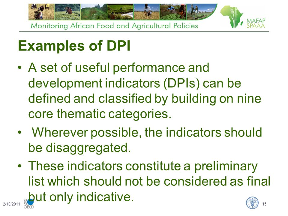Examples of DPI A set of useful performance and development indicators (DPIs) can be defined and classified by building on nine core thematic categories.