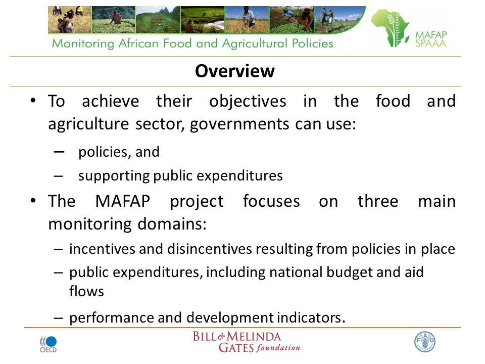 Overview To achieve their objectives in the food and agriculture sector, governments can use: – policies, and – supporting public expenditures The MAFAP project focuses on three main monitoring domains: – incentives and disincentives resulting from policies in place – public expenditures, including national budget and aid flows – performance and development indicators.