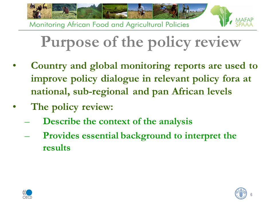 6 Country and global monitoring reports are used to improve policy dialogue in relevant policy fora at national, sub-regional and pan African levels The policy review: –Describe the context of the analysis –Provides essential background to interpret the results Purpose of the policy review
