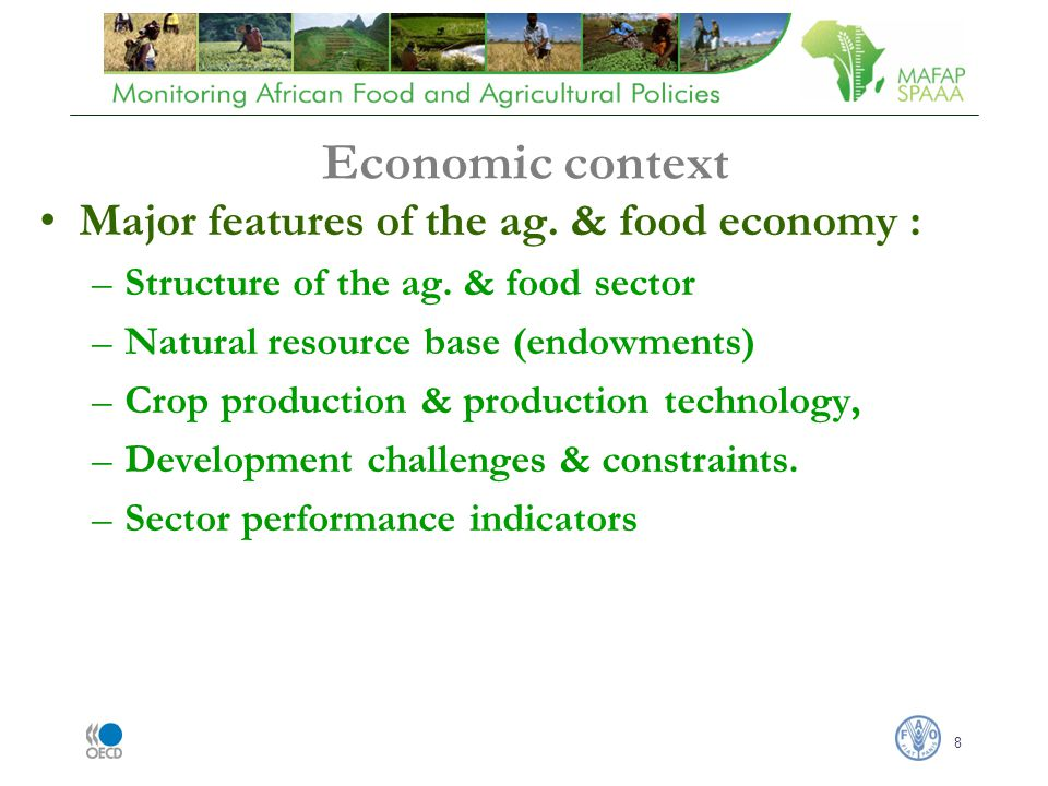 Economic context Major features of the ag. & food economy : –Structure of the ag.