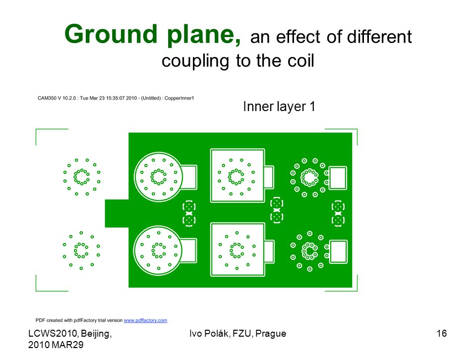LCWS2010, Beijing, 2010 MAR29 Ivo Polák, FZU, Prague16 Ground plane, an effect of different coupling to the coil Inner layer 1