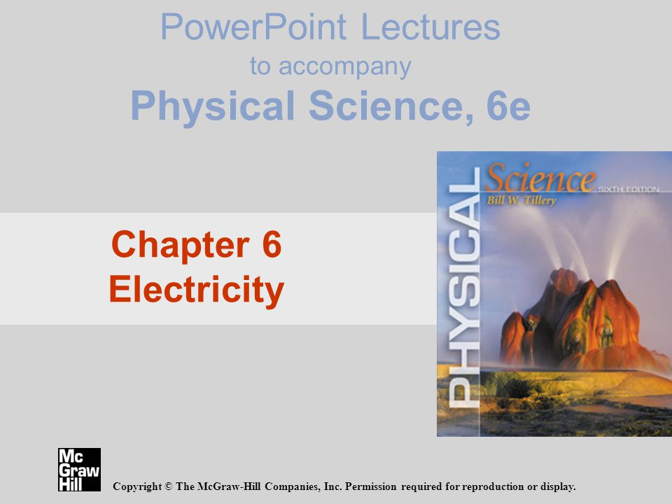 Point Lectures To Accompany Physical Science 6e Copyright The Mcgraw Hill Companies