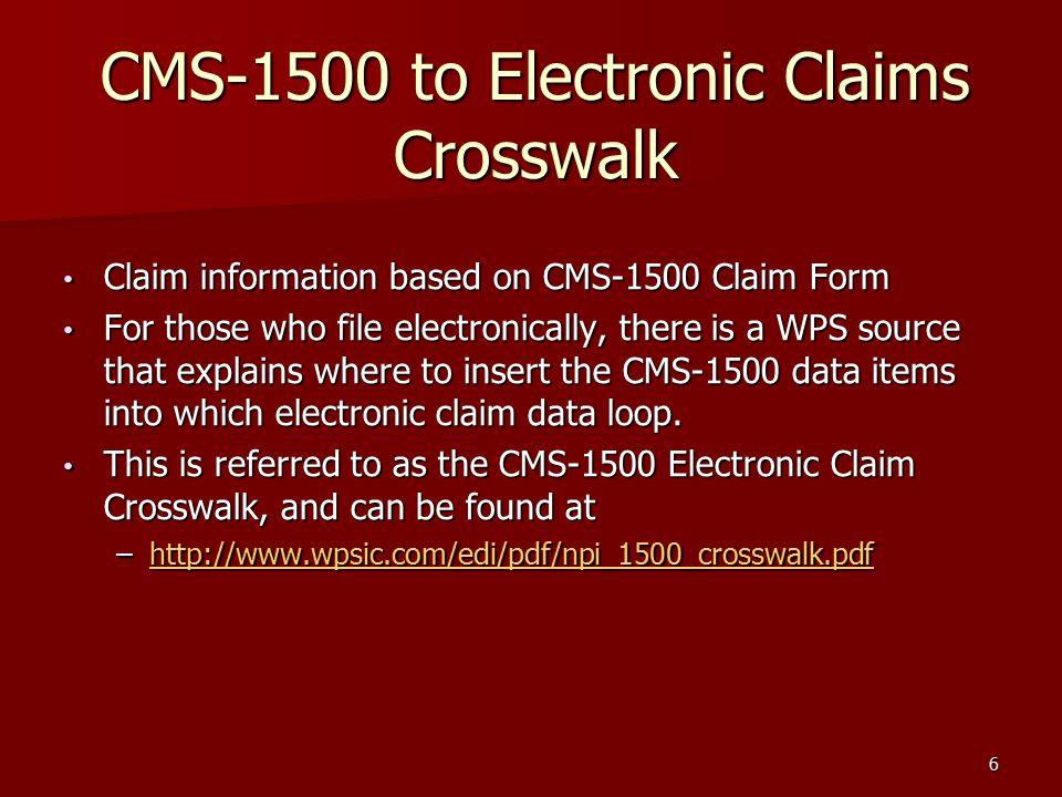 part 1 filing 3 rd party claims addressing the cms 1500 form its