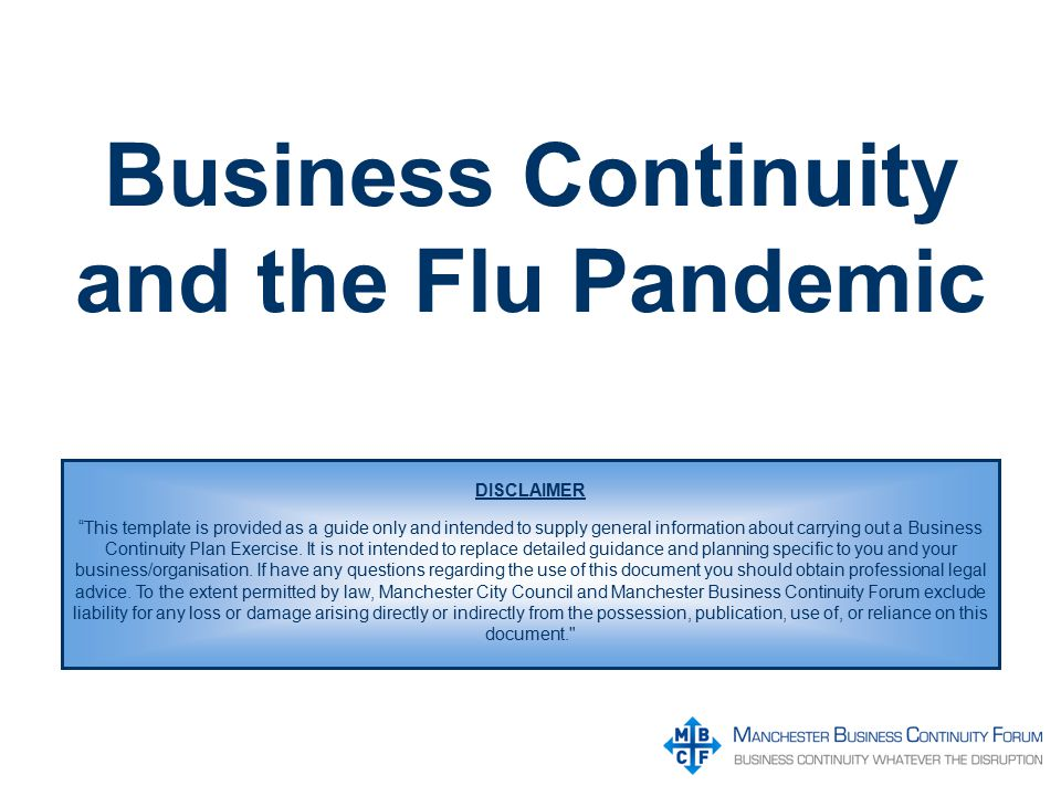 Business continuity and the flu pandemic disclaimer this template 1 business continuity flashek