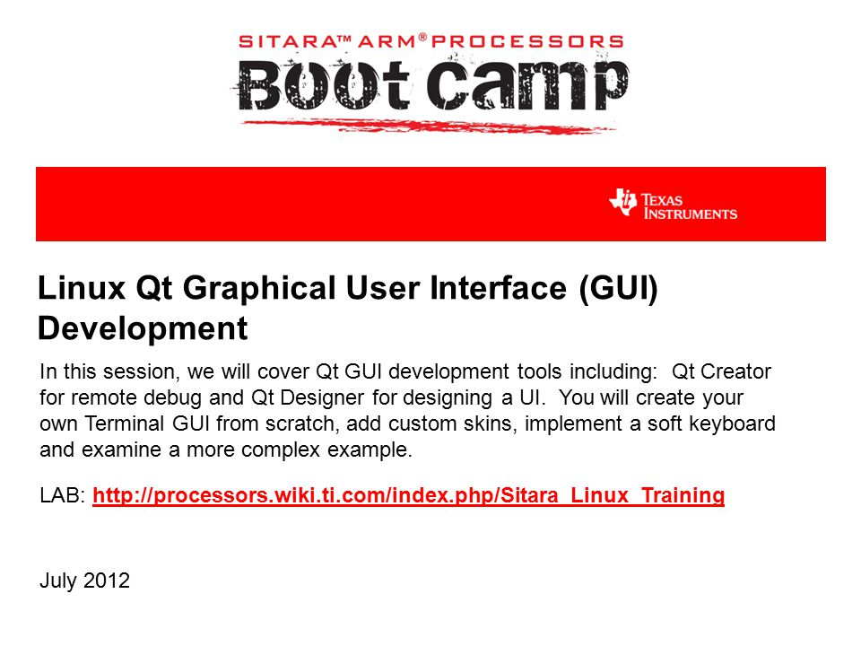 Linux Qt Graphical User Interface (GUI) Development In this session