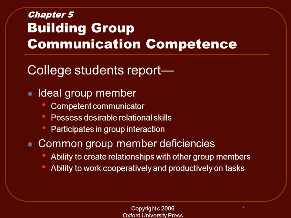 Copyright c 2006 Oxford University Press 1 Chapter 5 Building Group Communication Competence College students report— Ideal group member Competent communicator Possess desirable relational skills Participates in group interaction Common group member deficiencies Ability to create relationships with other group members Ability to work cooperatively and productively on tasks