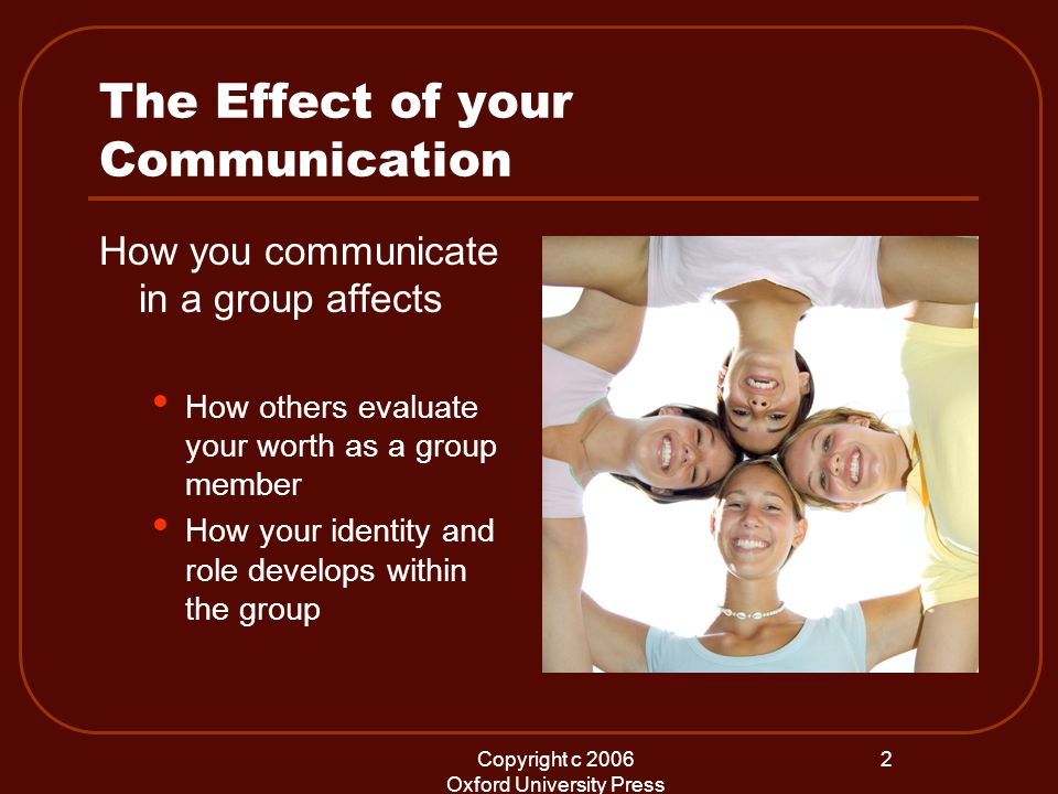 Copyright c 2006 Oxford University Press 2 The Effect of your Communication How you communicate in a group affects How others evaluate your worth as a group member How your identity and role develops within the group