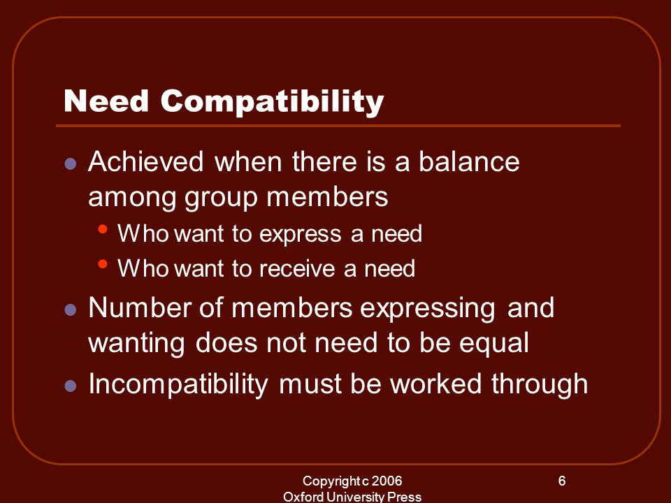 Copyright c 2006 Oxford University Press 6 Need Compatibility Achieved when there is a balance among group members Who want to express a need Who want to receive a need Number of members expressing and wanting does not need to be equal Incompatibility must be worked through