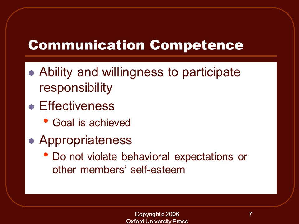 Copyright c 2006 Oxford University Press 7 Communication Competence Ability and willingness to participate responsibility Effectiveness Goal is achieved Appropriateness Do not violate behavioral expectations or other members' self-esteem
