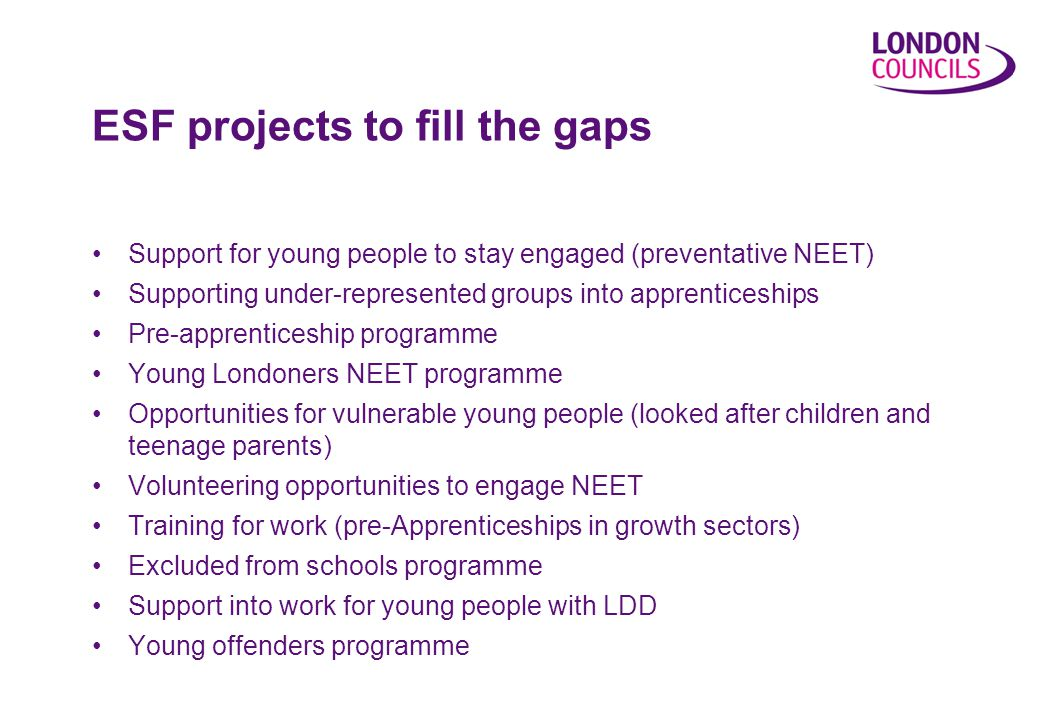 Support for young people to stay engaged (preventative NEET) Supporting under-represented groups into apprenticeships Pre-apprenticeship programme Young Londoners NEET programme Opportunities for vulnerable young people (looked after children and teenage parents) Volunteering opportunities to engage NEET Training for work (pre-Apprenticeships in growth sectors) Excluded from schools programme Support into work for young people with LDD Young offenders programme ESF projects to fill the gaps