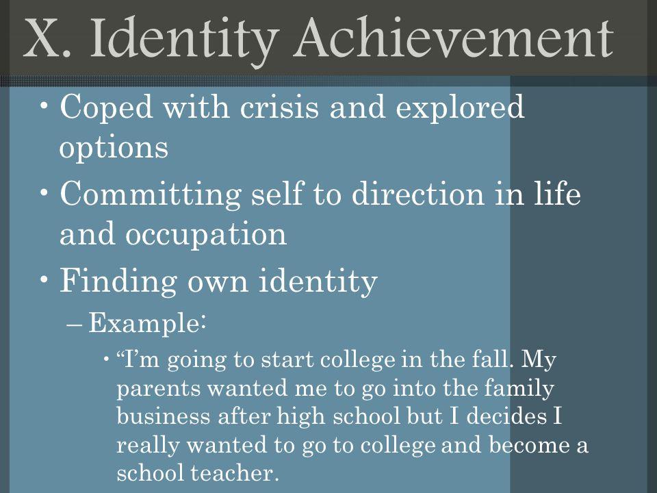 define identity achievement