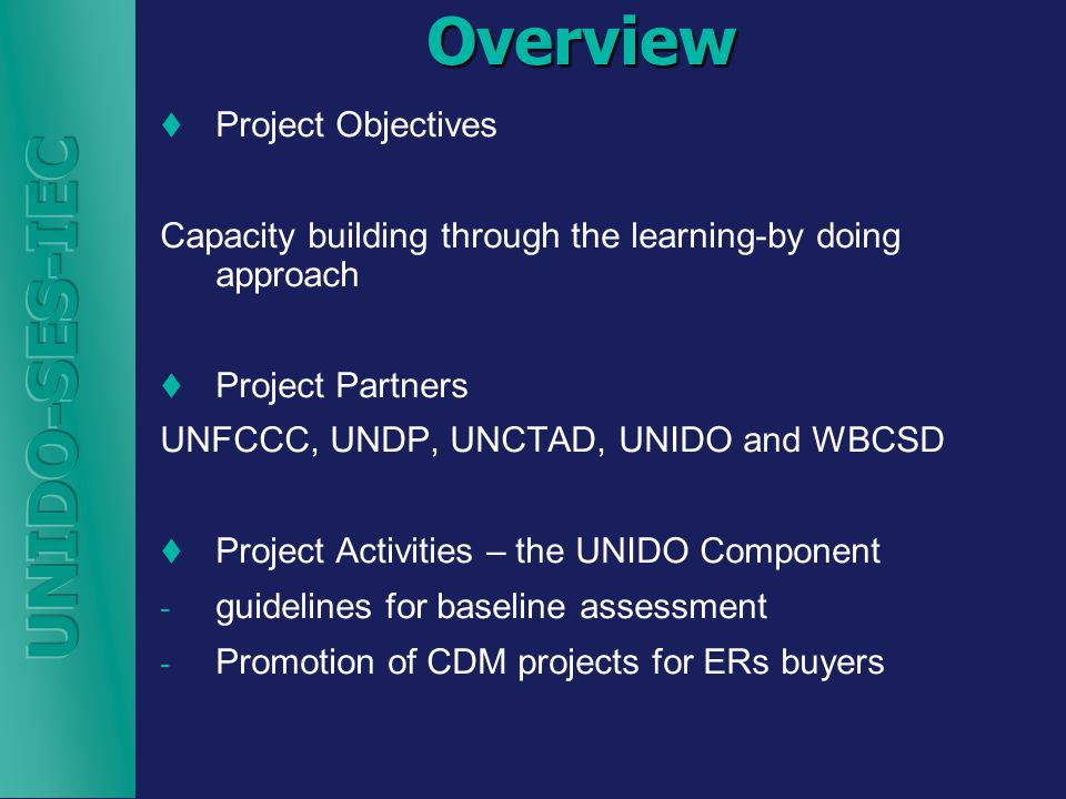 Overview  Project Objectives Capacity building through the learning-by doing approach  Project Partners UNFCCC, UNDP, UNCTAD, UNIDO and WBCSD  Project Activities – the UNIDO Component - guidelines for baseline assessment - Promotion of CDM projects for ERs buyers