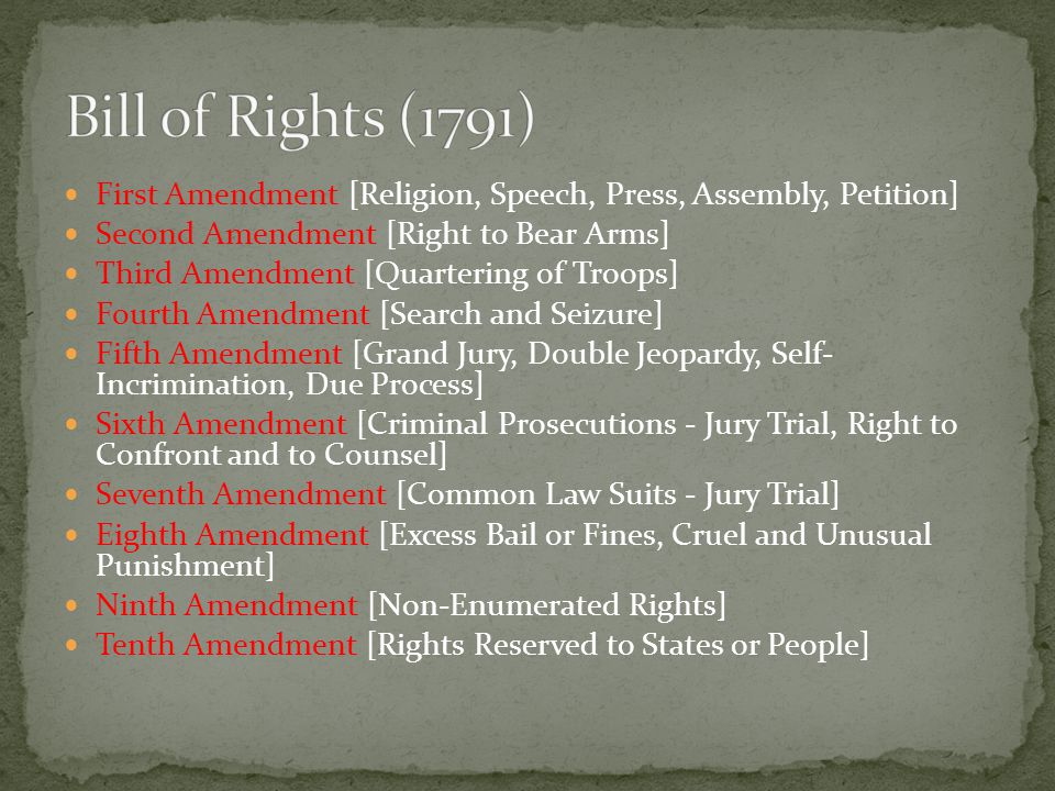 First Amendment [Religion, Speech, Press, Assembly, Petition] Second Amendment [Right to Bear Arms] Third Amendment [Quartering of Troops] Fourth Amendment [Search and Seizure] Fifth Amendment [Grand Jury, Double Jeopardy, Self- Incrimination, Due Process] Sixth Amendment [Criminal Prosecutions - Jury Trial, Right to Confront and to Counsel] Seventh Amendment [Common Law Suits - Jury Trial] Eighth Amendment [Excess Bail or Fines, Cruel and Unusual Punishment] Ninth Amendment [Non-Enumerated Rights] Tenth Amendment [Rights Reserved to States or People]