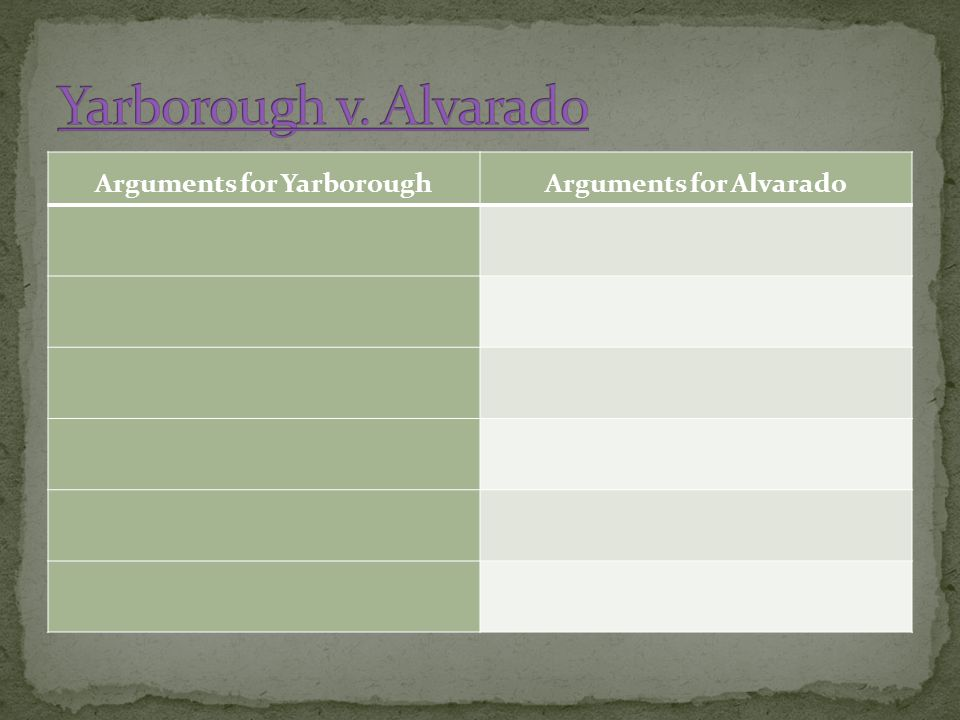 Arguments for YarboroughArguments for Alvarado
