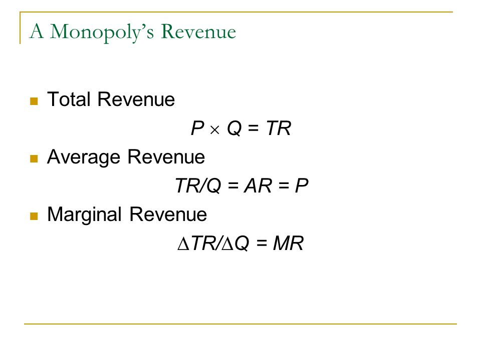 A Monopoly's Revenue Total Revenue P  Q = TR Average Revenue TR/Q = AR = P Marginal Revenue  TR/  Q = MR
