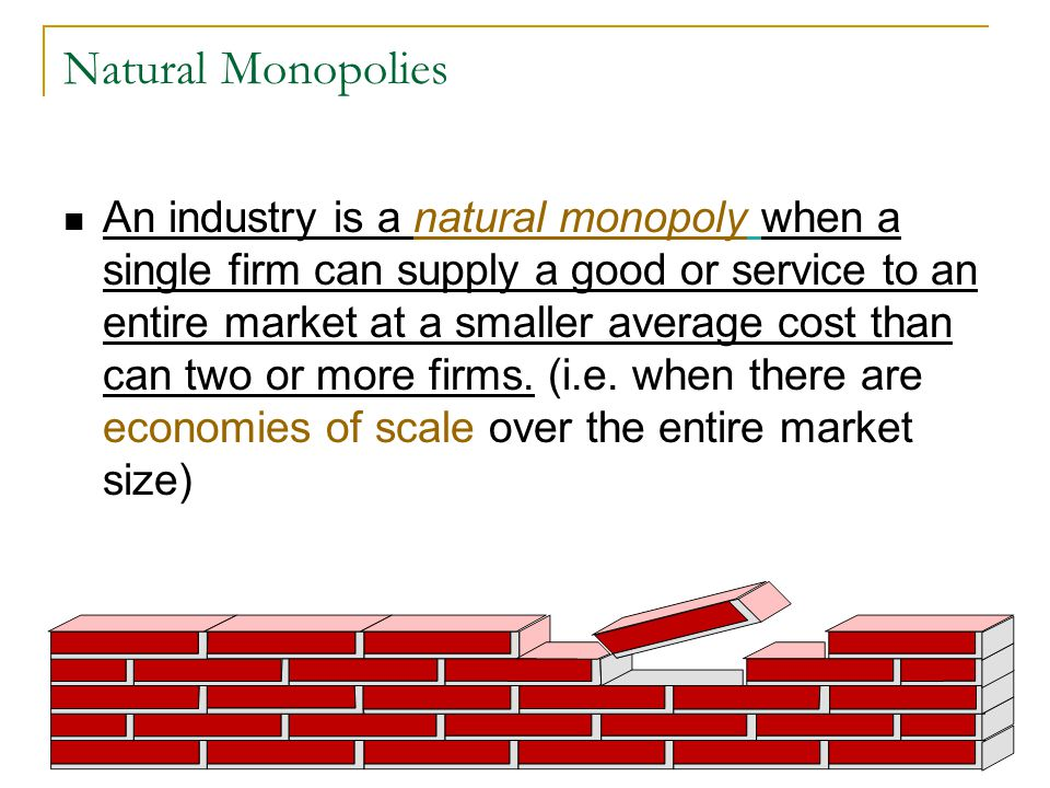 Natural Monopolies An industry is a natural monopoly when a single firm can supply a good or service to an entire market at a smaller average cost than can two or more firms.