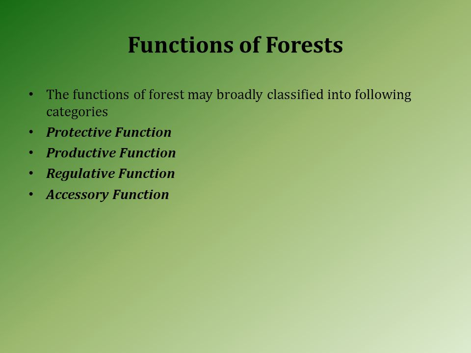 Functions of Forests The functions of forest may broadly classified into following categories Protective Function Productive Function Regulative Function Accessory Function