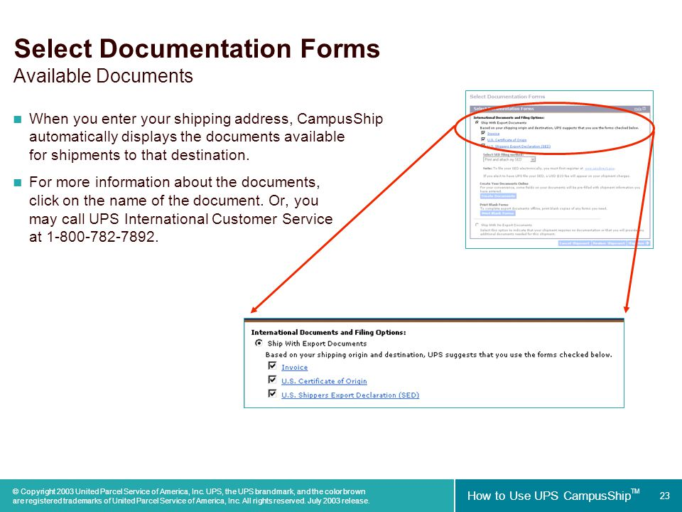 23 how to use ups campusship tm copyright 2003 united parcel service of america