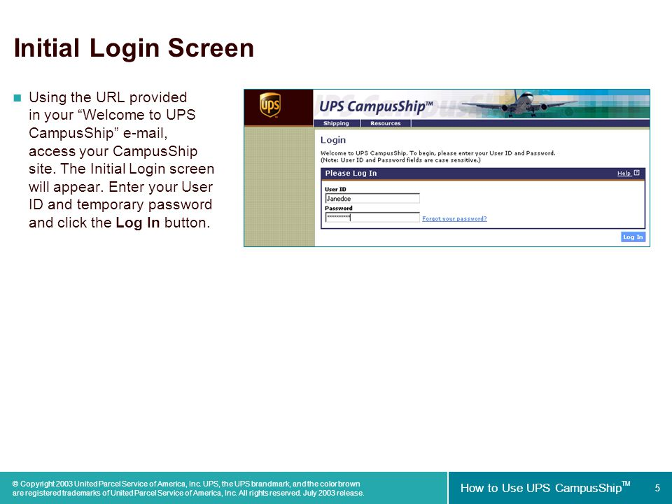 Copyright 2003 United Parcel Service of America, Inc  UPS