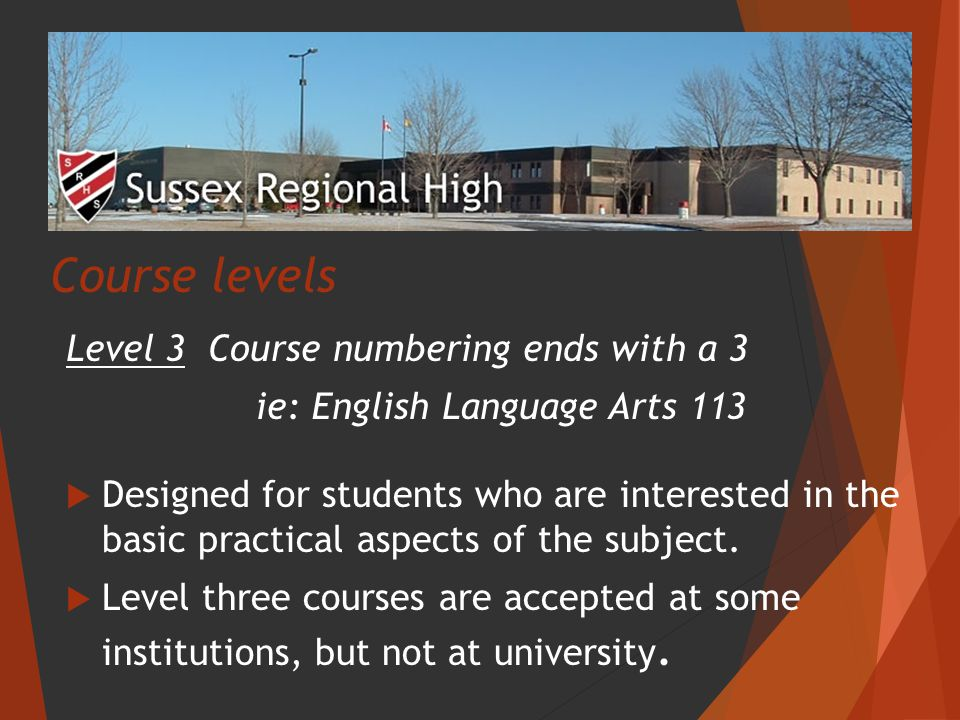 Course levels Level 3 Course numbering ends with a 3 ie: English Language Arts 113  Designed for students who are interested in the basic practical aspects of the subject.