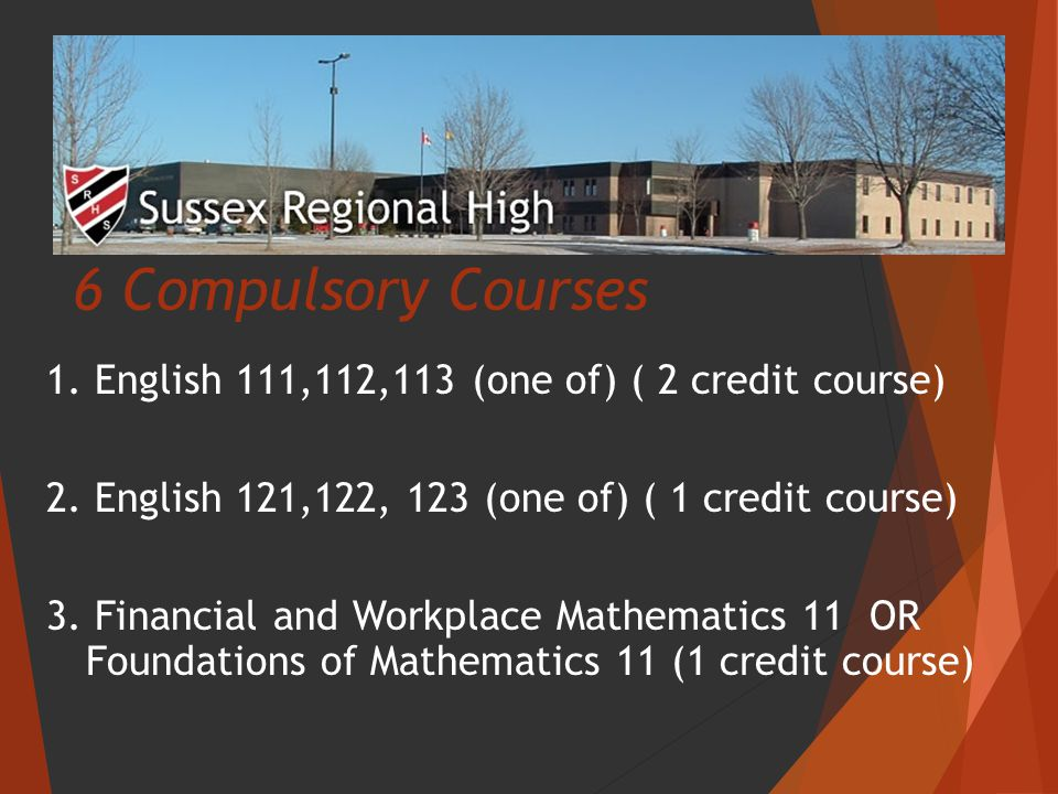 6 Compulsory Courses 1. English 111,112,113 (one of) ( 2 credit course) 2.