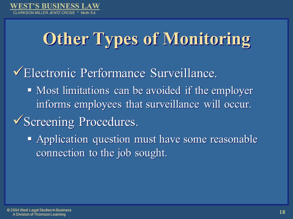 © 2004 West Legal Studies in Business A Division of Thomson Learning 18 Other Types of Monitoring Electronic Performance Surveillance.