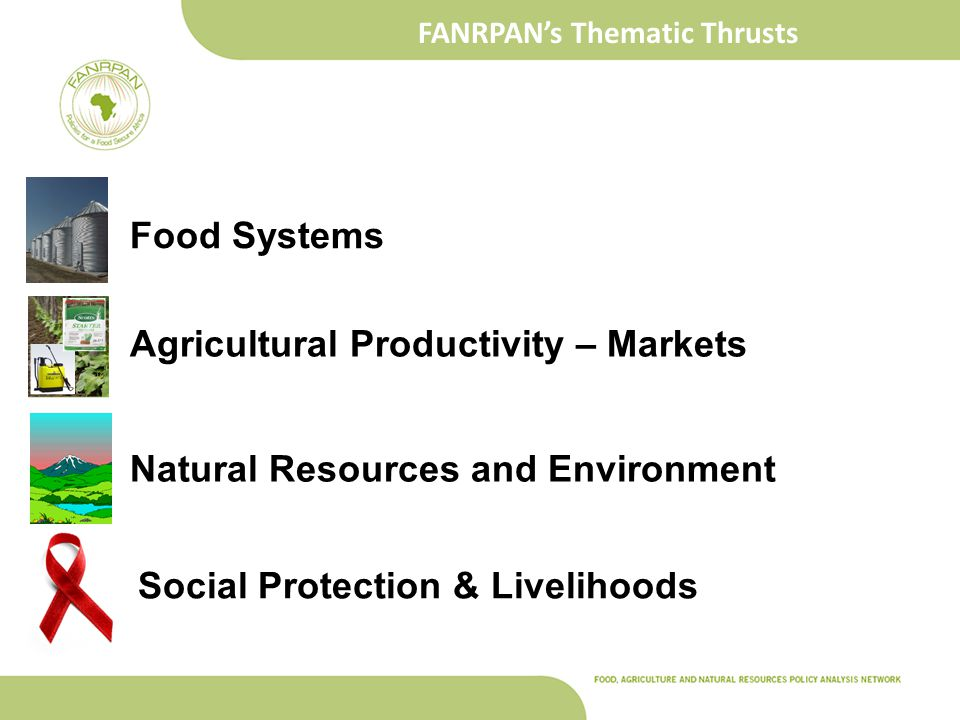FANRPAN's Thematic Thrusts Social Protection & Livelihoods Food Systems Agricultural Productivity – Markets Natural Resources and Environment