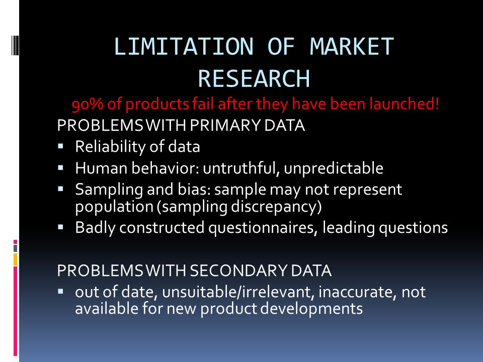LIMITATION OF MARKET RESEARCH 90% of products fail after they have been launched.