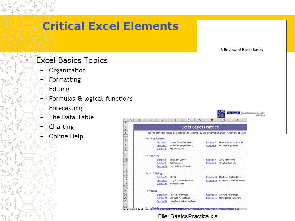 Excel Review Global Executive MBA April Session goals