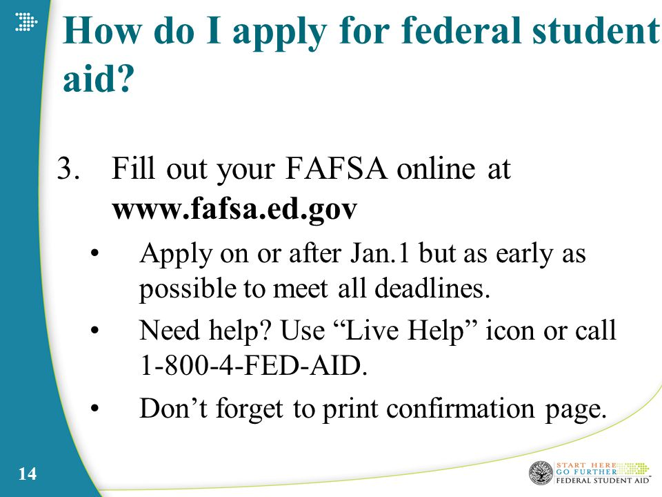 14 How do I apply for federal student aid.