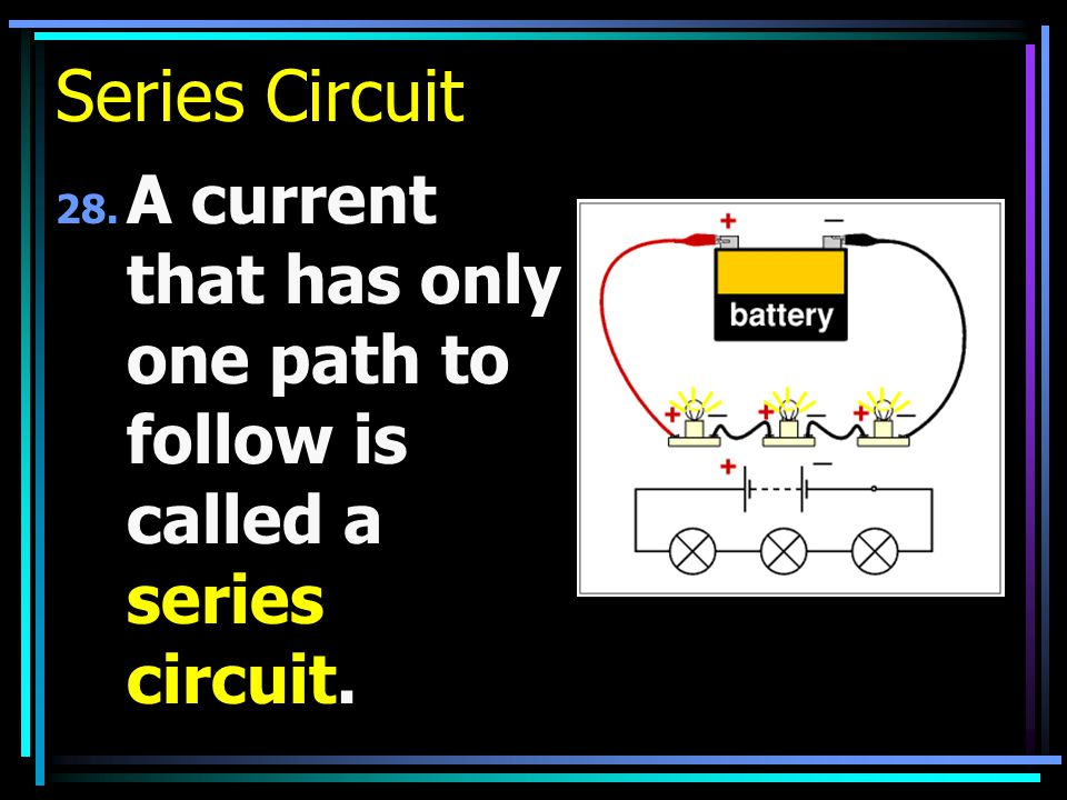 Series Circuit 28. A current that has only one path to follow is called a series circuit.