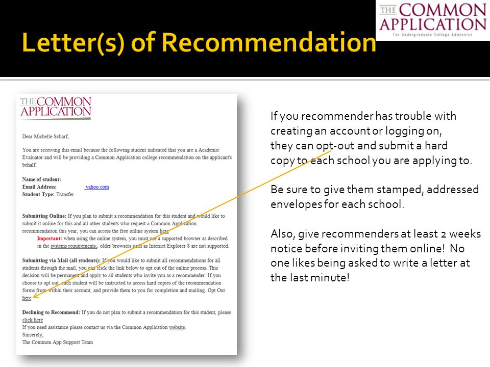 Common App Letter Of Recommendation Sample from images.slideplayer.com