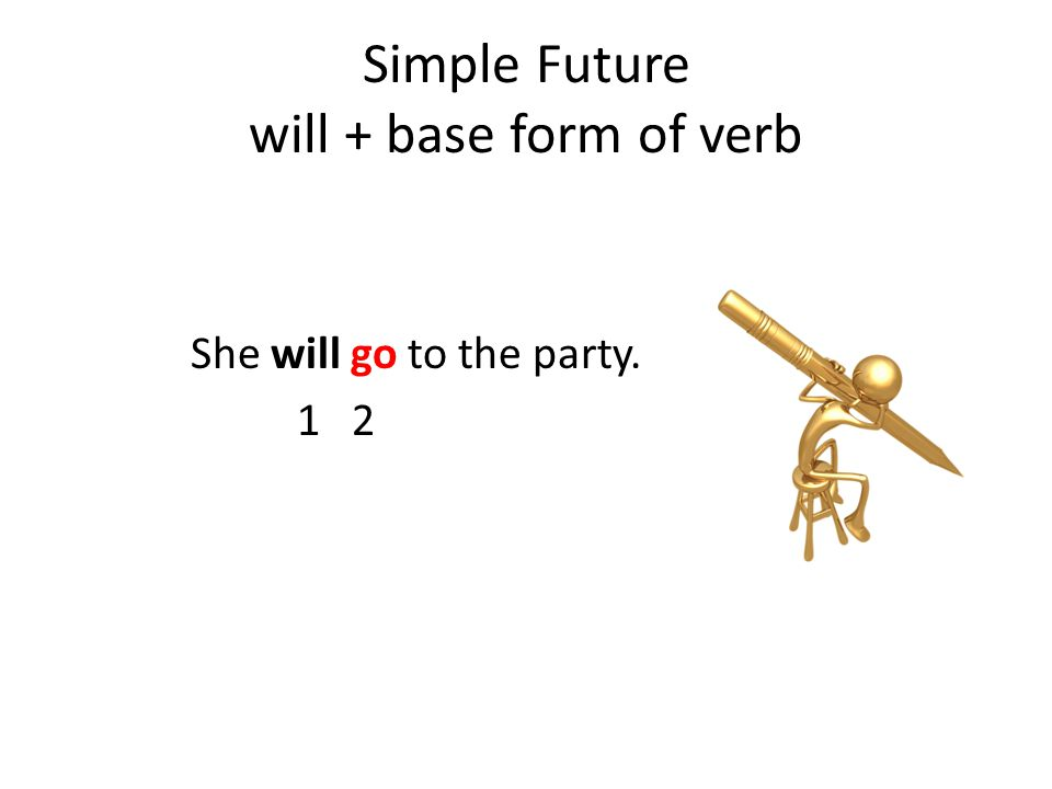 Simple Future will + base form of verb She will go to the party. 1 2