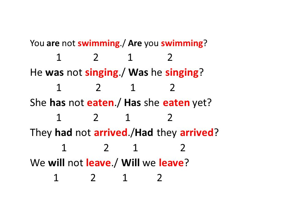 You are not swimming./ Are you swimming He was not singing./ Was he singing.