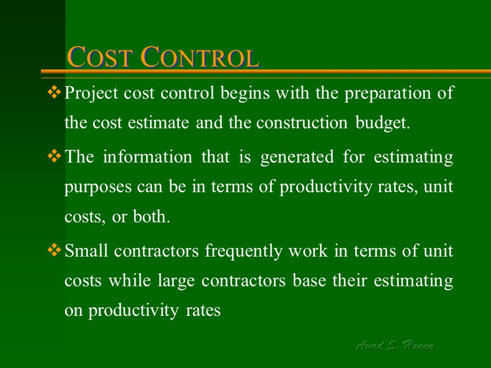 Xii cost control, monitoring & accounting ppt download.