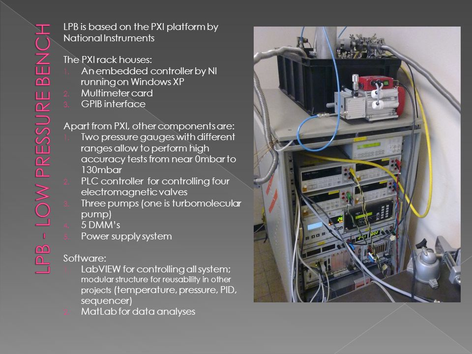 LPB is based on the PXI platform by National Instruments The PXI rack houses: 1.