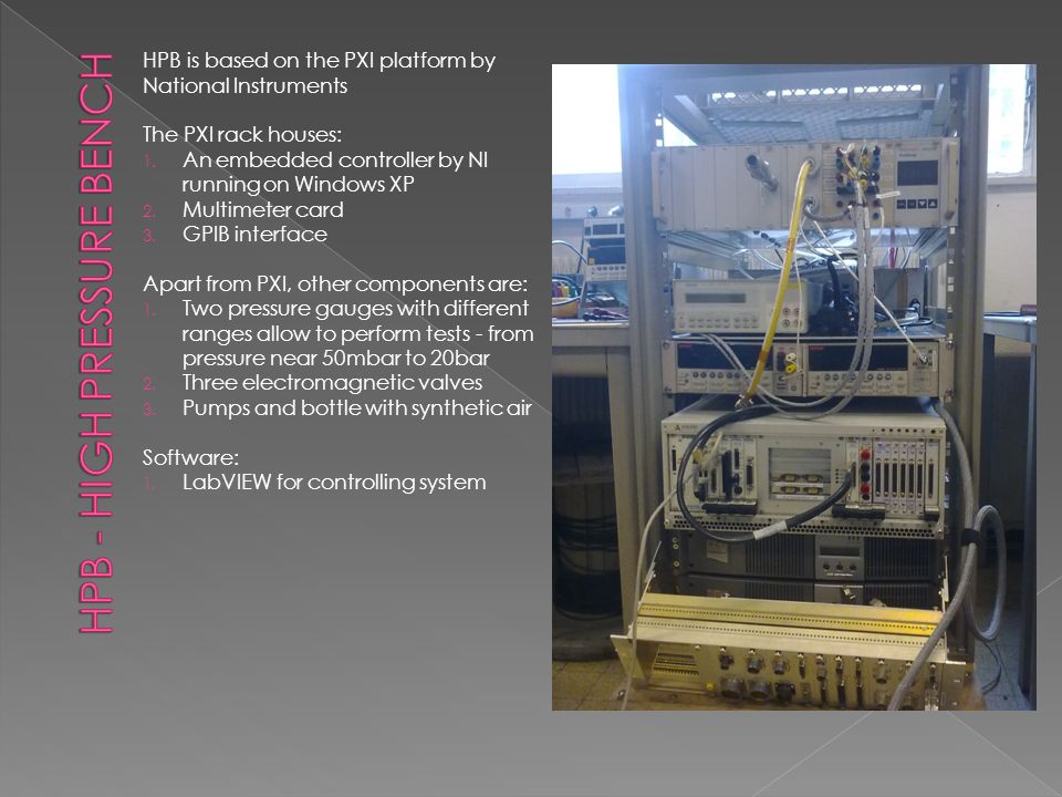 HPB is based on the PXI platform by National Instruments The PXI rack houses: 1.